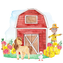 Watercolor Illustration With Cute Farm Animals, Hangar And Pretty Flowers, Isolated On White Background