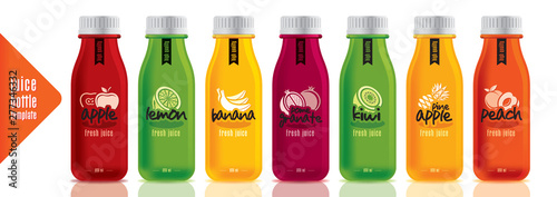 Fotografie, Obraz  Ready design juice bottle set