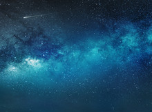 Night Sky Background With Stars And Comet
