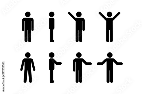Man standing set, stick figure human. Vector illustration, pictogram of different human poses on white