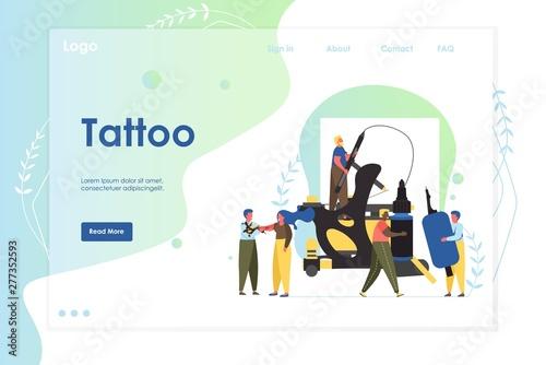 Photo Tattoo vector website landing page design template