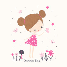 Little Girl With Butterflies And Flowers. Cartoon Vector Illustration