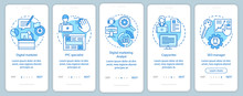 Digital Marketing Specialties Blue Onboarding Mobile App Page Screen With Linear Concepts.Copywriter, SEO Manager Walkthrough Steps Graphic Instructions. UX, UI, GUI Vector Template With Illustrations