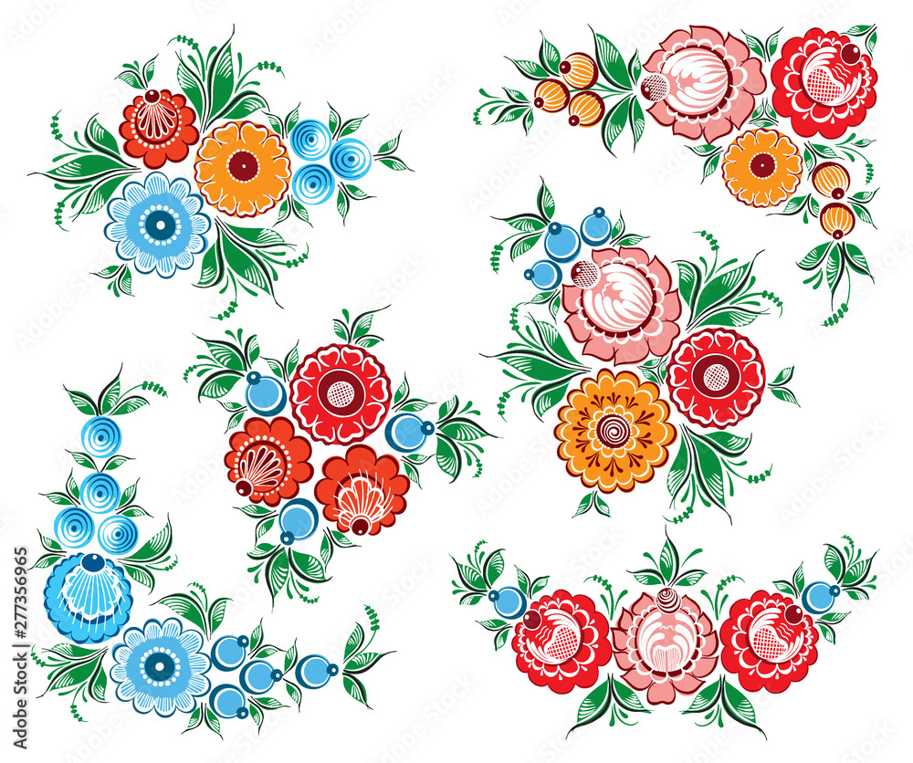 Set of hand drawn floral russian traditional vector ethnic ornament Gorodets on isolated white background for your design