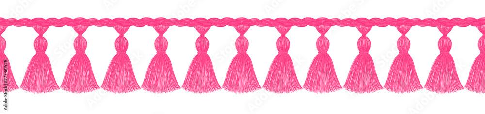 Fototapety, obrazy: Tassel pattern. Fringe border. Crochet. Knitting. Sewing. Trendy fashion design. Sketch. Clothes decoration. Ethnic. Folk. Vintage. Boho style.