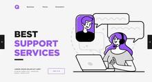 Presentation Slide Template Or Landing Page Website Design. Business Concept Illustrations. Modern Flat Outline Style. Support Service