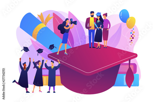 Deurstickers Graffiti collage Graduating with friends. Proud parents with graduated student. Graduation day, getting an academic degree, graduation announcements concept. Bright vibrant violet vector isolated illustration