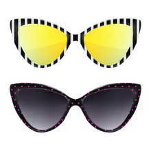 Sunglasses Background. Trendy Colors. Fashion Eyeglasses Collection. Summer Fashion. Cat Eye Rim Style. Retro Trendy Vector.