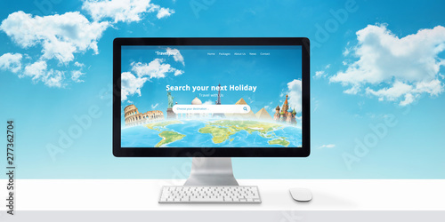 Poster Individuel Travel agency website concept on computer display. Search destinations and vacations online. Modern flat web site desing with clouds in background.
