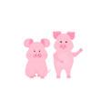 Cute pig cartoon characters. Piggy. Funny animal.