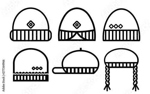 Winter hat simple icons set Wallpaper Mural