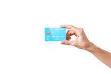 Credit Card In Hand On White