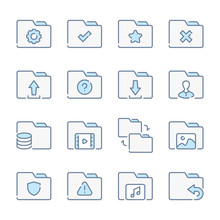 Folder, Document Archive And File Organization Related Blue Line Colored Icons.