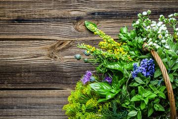Fototapeta Do restauracji Assorted garden fresh herbs on wooden background