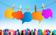canvas print picture - Speech bubble. Communication crowd large group of people talking. Colored clouds. Chatter network. Dialogue between diverse people. Inform and communicate. Gossip