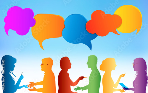 Fototapety, obrazy: Speech bubble. Communication group of people. Colored clouds. Talk in social media. Dialogue between diverse people. Information communicate and networking. Gossip