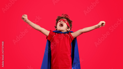 Excited superhero screaming and looking up Slika na platnu