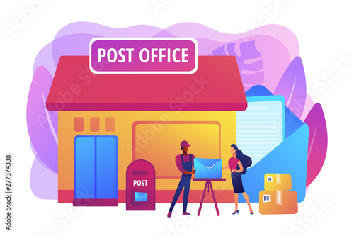 Documents, letters express courier delivering. Postal services. Post office services, post delivery agent, post office card accounts concept. Bright vibrant violet vector isolated illustration