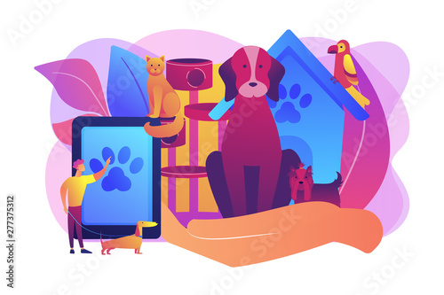 Deurstickers Graffiti collage Pet hotel, daycare. Bringing puppy to grooming, veterinary service. Pet services, pets care services, we offer the best for your pet concept. Bright vibrant violet vector isolated illustration