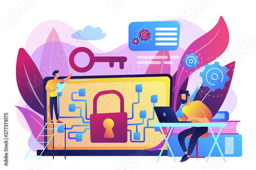 Deurstickers Graffiti collage Personal digital security. Defence, protection from hackers, scammers. Data breaches, data leakage prevention, encryption for databases concept. Bright vibrant violet vector isolated illustration
