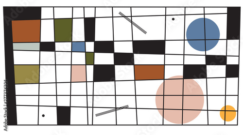 Fényképezés Modern art (abstract art Wassily Kandinsky style) imitation pattern with retro style colors