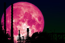Super Blood Moon Back On Silhouette Refinery Oil Industry Night Sky