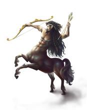 Centaur Isolated On White Background. Digital Art. Digital Painting.