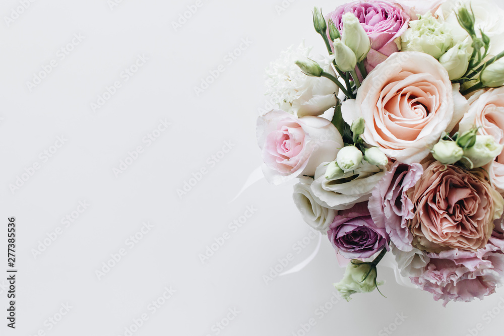 Fototapety, obrazy: Beautiful spring bouquet with pink and white tender flowers