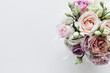 Beautiful spring bouquet with pink and white tender flowers