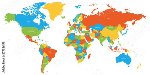 Fototapeta Colorful map of World. High detail political map with country names. Vector illustration obraz