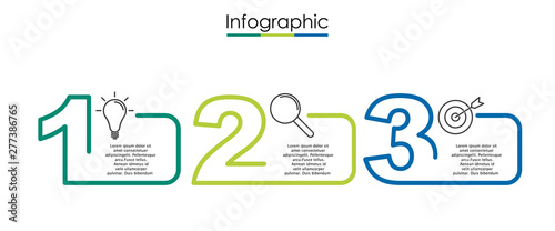 Fotografía Vector infographic template with three steps or options