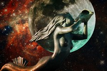 Mermaid, Moon And 30 Doradus Nebula (Elements Of This Image Furnished By NASA)