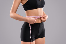 Dieting Female Checking Waist Size