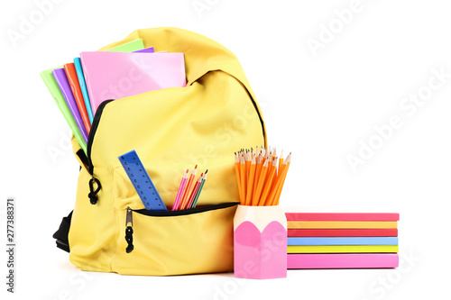 Poster Fleur Backpack with school supplies isolated on white background