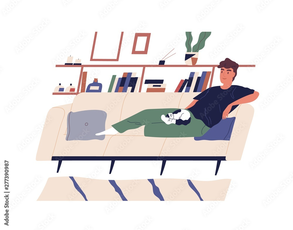 Fototapeta Cute happy boy lying on comfy couch with his cat. Young smiling man relaxing on cozy sofa at home. Cheerful male cartoon character performing daily leisure activity. Modern flat vector illustration.