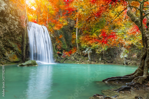 Acrylic Prints Forest river Erawan Waterfall tier 3, in National Park at Kanchanaburi, Thailand