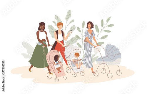 Obraz Group of cute women with babies in prams and strollers. Moms walking with their infant children. Community of young mothers. Motherhood and maternity. Flat cartoon colorful vector illustration. - fototapety do salonu