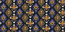 Arabic Geometric Folklore Ornament With Diamonds In Purple And Yellow Colors. Figure Tribal Embroidery. Seamless Striped Pattern In Oriental Style. Tribal Ethnic Vector Texture. Fashionable Folk Print