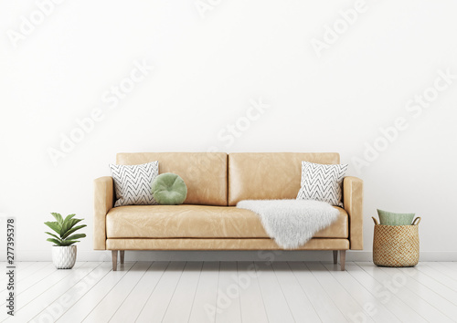 Peachy Living Room Interior Wall Mockup With Tan Brown Leather Sofa Gmtry Best Dining Table And Chair Ideas Images Gmtryco