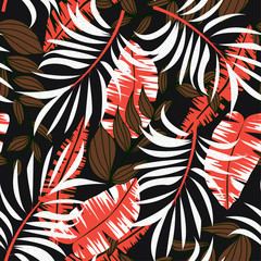 Fototapeta na wymiar Abstract bright seamless background with colorful tropical leaves and flowers on dark background. Vector design. Jungle print. Floral background. Printing and textiles. Exotic tropics. Fresh design.
