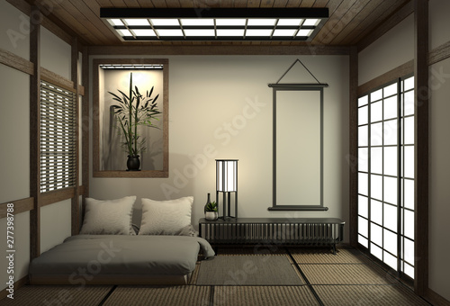 Modern Peaceful Bedroom Zen Style Bedroom And Decoration Japanese Style Bedroom Japanese Style 3d Rendering Buy This Stock Illustration And Explore Similar Illustrations At Adobe Stock Adobe Stock