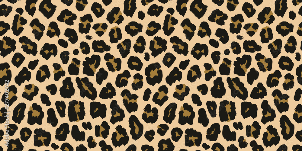 Fototapeta Jaguar, leopard print. Vector seamless pattern. Realistic animal skin background