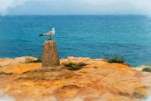 Digital Painting Of Seagull On Perch