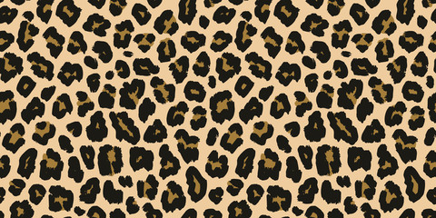 FototapetaLeopard print. Vector seamless pattern. Animal jaguar skin background with black and brown spots on beige backdrop. Abstract exotic jungle texture. Repeat design for decor, fabric, textile, wallpapers