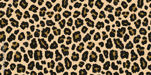 obraz PCV Jaguar, leopard print. Vector seamless pattern. Realistic animal skin background