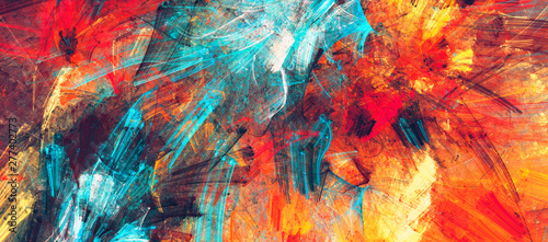 Bright artistic splashes. Abstract painting color texture. Modern futuristic pattern. Dynamic bright vibrant background. Fractal artwork for creative graphic design - fototapety na wymiar
