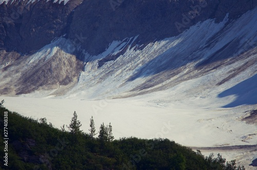 Mountain Glacier in Alaskan interior on the way to Denali.  Mountains, snow, ice, trees, and valley.