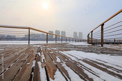 Obraz na plátně wood trestle bridge in the snow, China