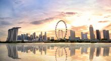Singapore Skyline Panorama With Marina Bay At Sunset