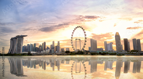 Singapore skyline panorama with Marina Bay at sunset Wallpaper Mural
